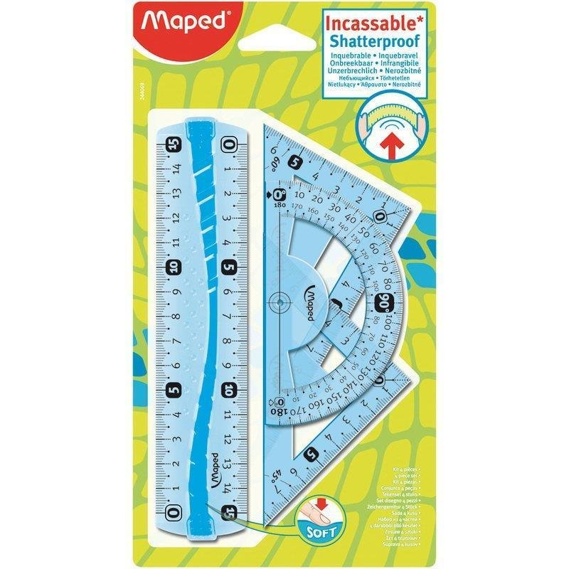 Maped flexibles mini Geometrie-Set 4-teilig blau