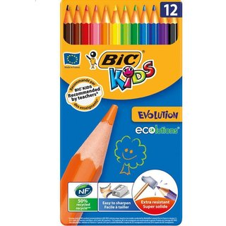BIC KIDS Buntstifte Evolution ecolutions, 12er Metallbox