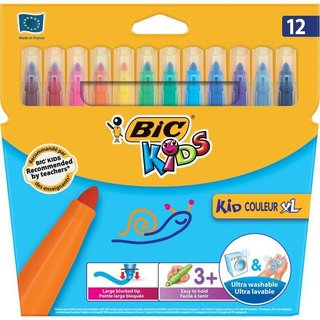 BIC KIDS Fasermaler Kid Couleur XL, 12er Kartonetui