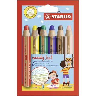 STABILO woody 3 in 1, 6er Etui