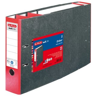 herlitz Ordner maX.file nature A4 80mm rot/Wolkenmarmor...