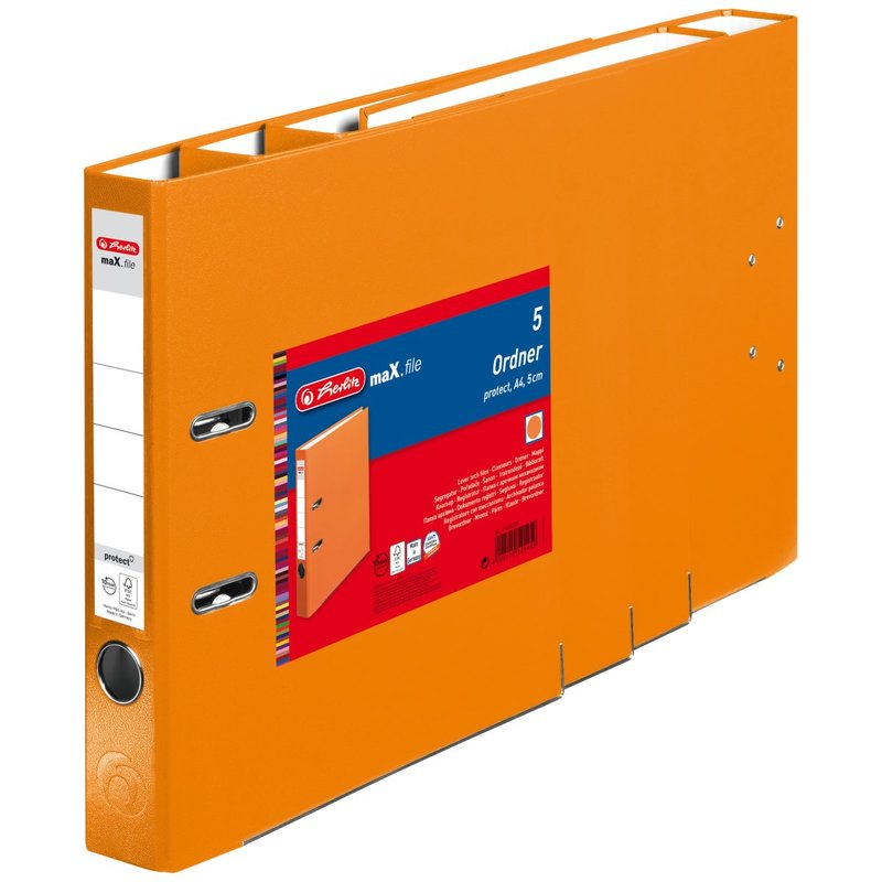 herlitz Ordner maX.file protect A4 50mm orange 5er Pack