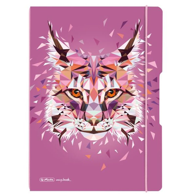 herlitz my.book flex Notizheft A4 2 x 40 Blatt liniert/kariert Wild Animals Luchs