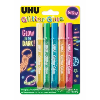 UHU Glitzerkleber Glitter Glue Glow in the Dark, Inhalt:...