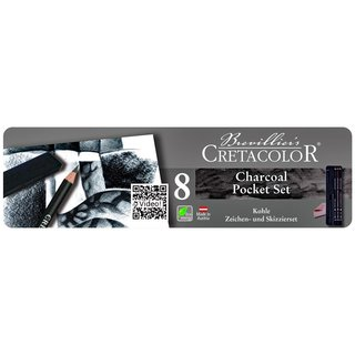CRETACOLOR Charcoal Pocket-Set 8-teiliges Metalletui